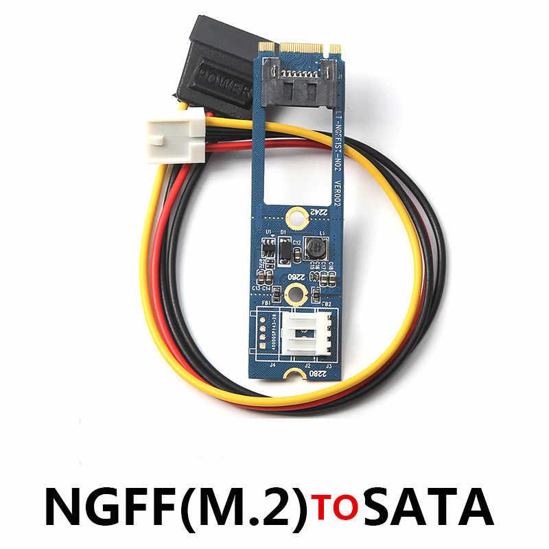 L M2 SATA M.2 7Pin NGFF SATA に SATA 水平変換アダプタカード拡張カード + 4Pin 電源ケーブル winXP ため Win7 Win8