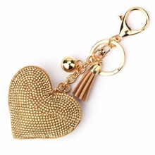 15 Colors Fashion Car Play Full Crystal Rhinestone Heart Key Chain Gold Silver Chain Keychain Bag Car Hanging Pendant Jewelry
