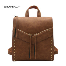 SIMHALF Vintage Tassel Rivet Leather Backpack Women Shoulder Bags Retro School Bags Teenage Girls Travel Laptop Bagpack Mochilas