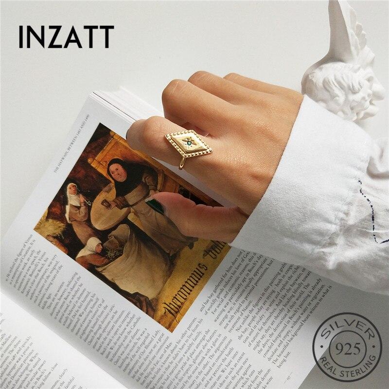 INZATT Pure 925 Sterling Silver Minimalist Geometric Rhombus Openwork Ring Fine Jewelry For Fashion Women Party Punk Accessories