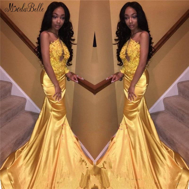 modabelle One Shoulder Gold Prom Dress Sukienki Na Bal Appliques Lace Mermaid For Black Girls Vestidos Largos