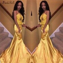 modabelle One Shoulder Gold Prom Dress Sukienki Na Bal Appliques Lace Mermaid For Black Girls Vestidos Largos