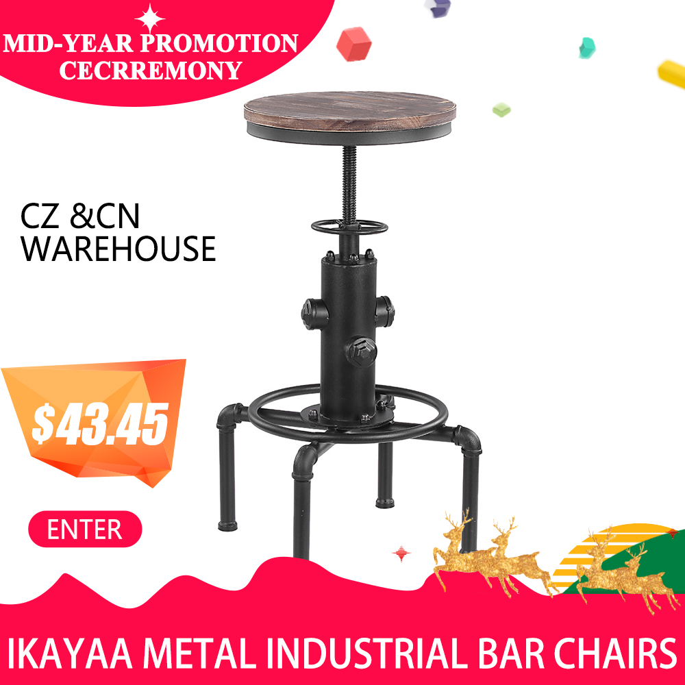 iKayaa Metal Industrial Bar Chairs Height Adjustable Swivel Pinewood Top Kitchen Dining Chair Pipe Style Barstool Bar Chairs