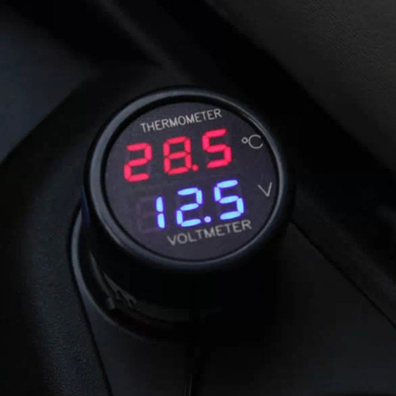 12V 24V Digital Car Voltmeter Thermometer  2 In 1 DC Temperature Meter Battery Monitor Red Blue Led Dual Display
