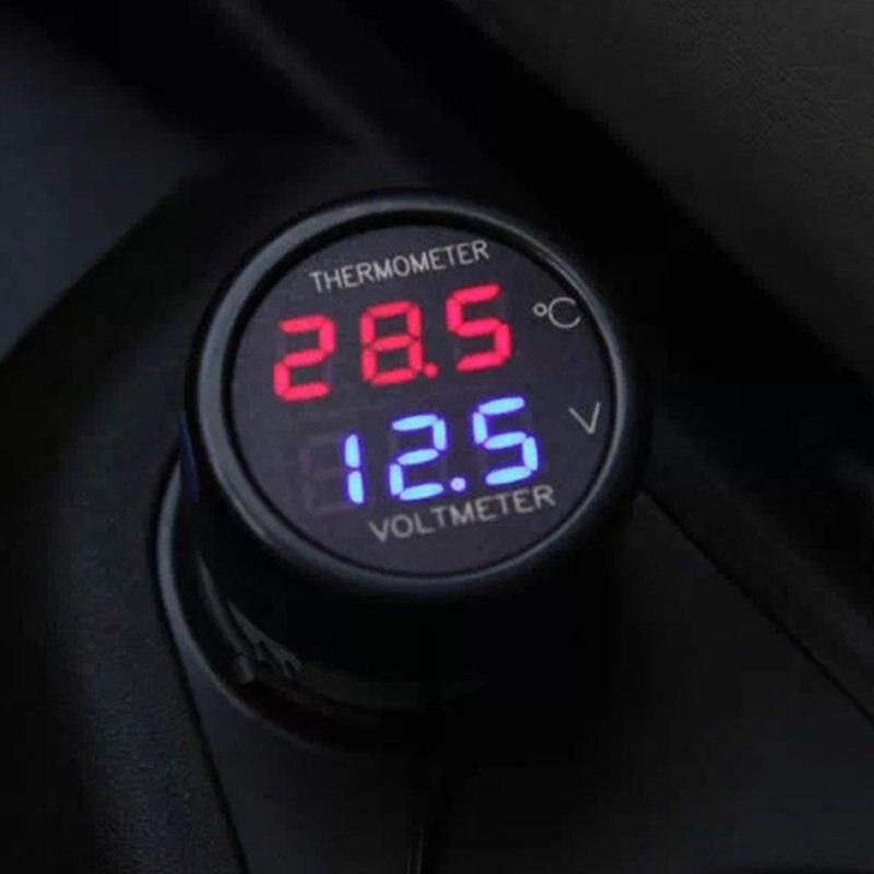 12V 24V voltmètre de voiture numérique thermomètre 2 en 1 DC température mètre batterie moniteur rouge bleu Led double affichage
