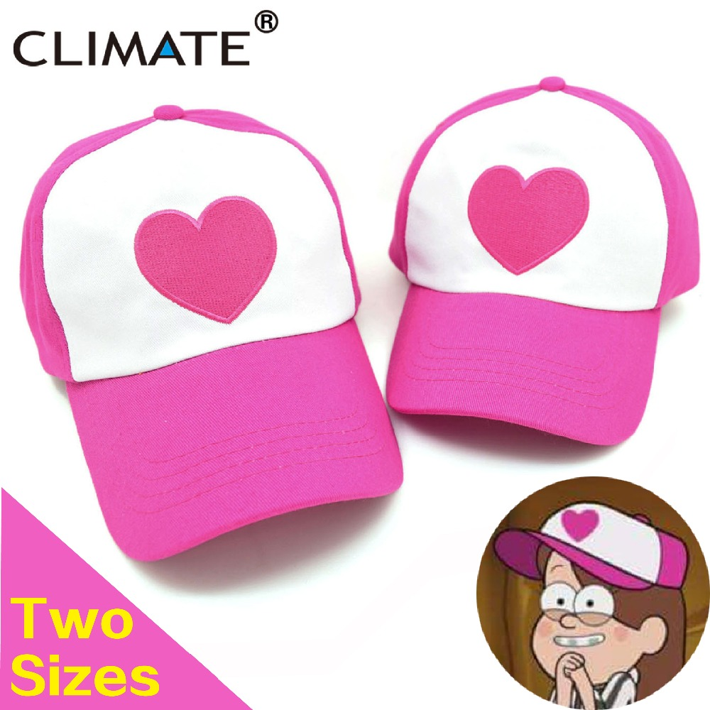 CLIMATE Girls Children Cute Gravity Falls Dipper Mabel Rose Heart Mesh Summer Caps Girl Cool Net Mesh Trucker Hat Cap Summer climate men women summer cool mesh cap remix music dj hardwell on air fans cool baseball mesh summer net trucker caps hat fans