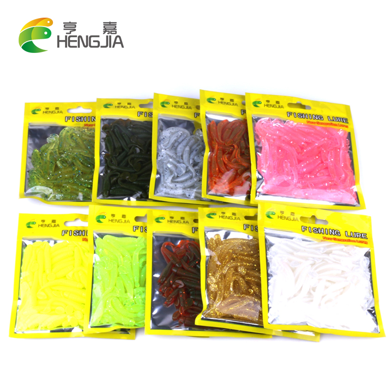 Hengjia 50pcs fake bait Wobbler Soft Jigging floating T fish Bionic isca Artificial fishing Lure fly silicone bait Worms(China)