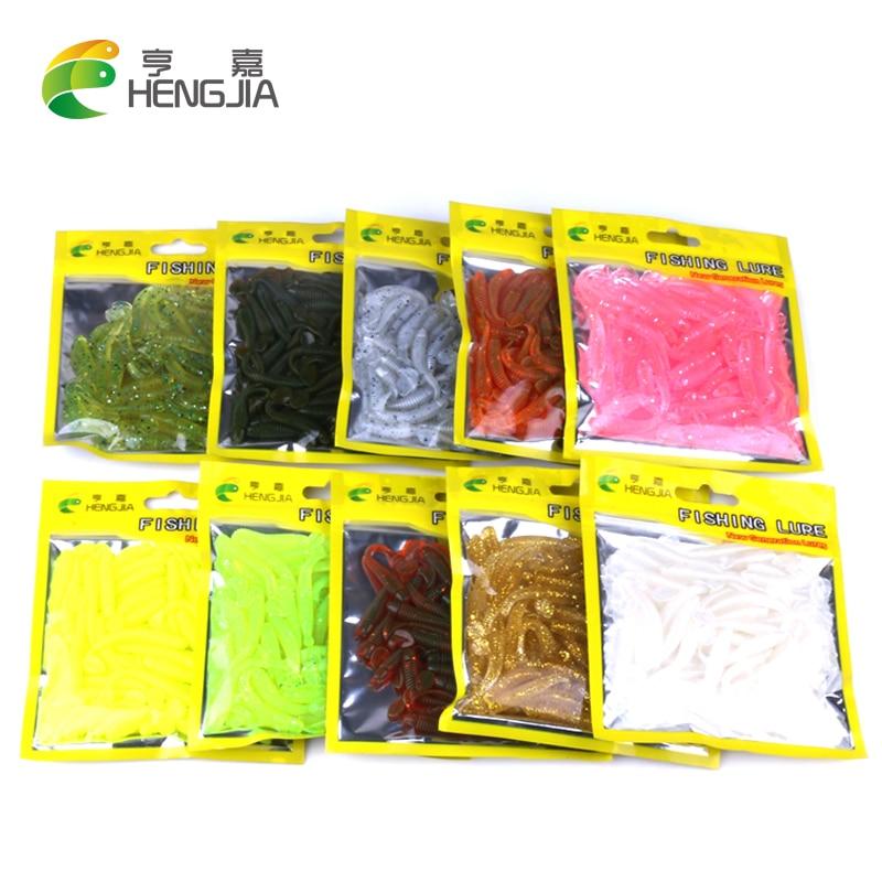 Hengjia 50pcs Fake Bait Wobbler Soft Jigging Floating T Fish Bionic Isca Artificial Fishing Lure Fly  Silicone Bait Worms
