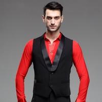 2019 New Men Ballroom Dance Tops Sleeveless Suit Vest Waistcoats Black Dance Top DQ7006