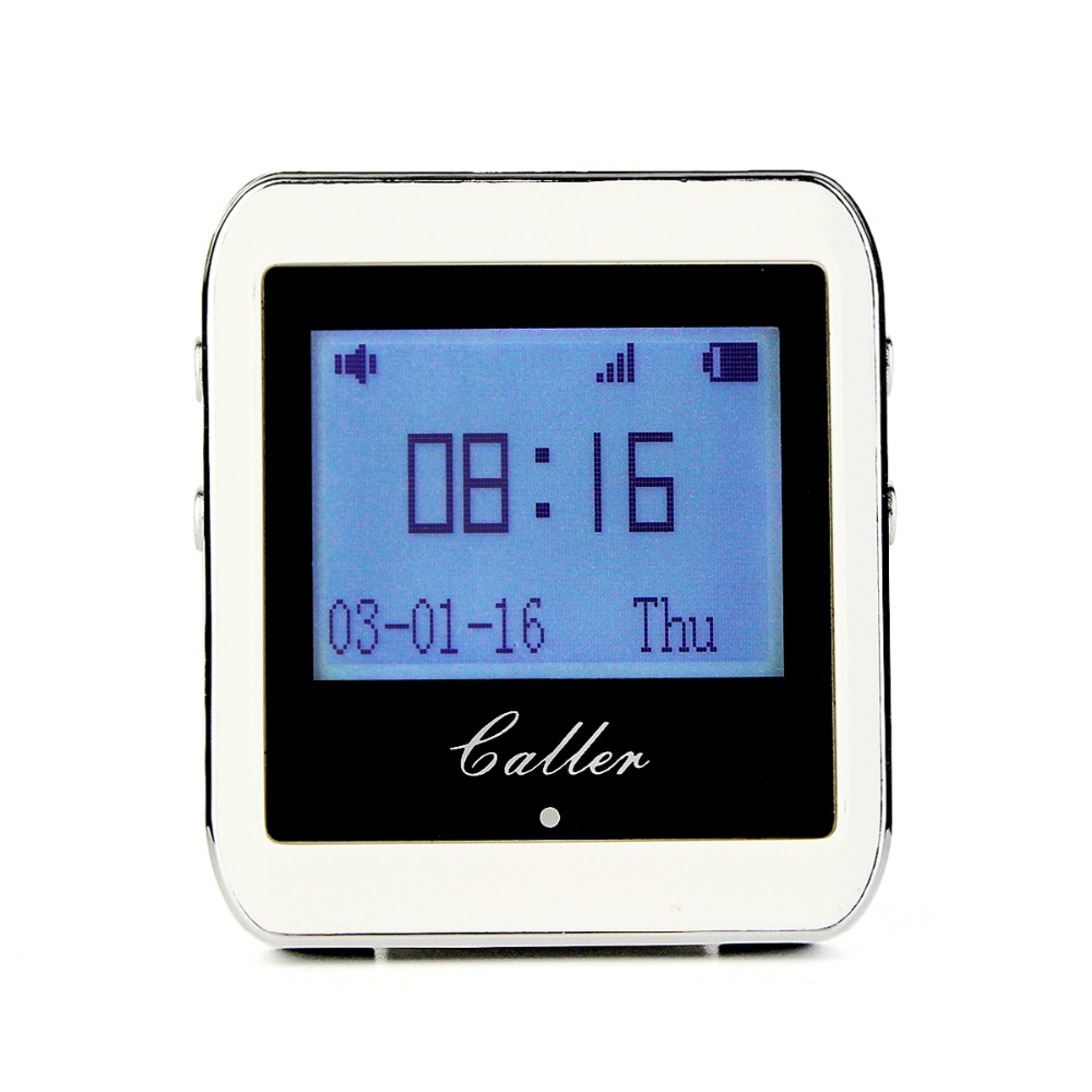 TIVDIO Calling Paging System 433MHz 999 Channel RF Wireless White Wrist Watch Receiver For Fast Food Shop Restaurant F3288B wireless service call bell system popular in restaurant ce passed 433 92mhz full equipment watch pager 1 watch 7 call button