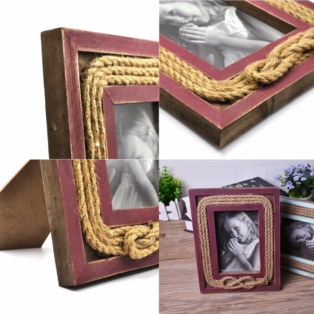 1 unids madera Marcos, 4x6 pulgadas vintage retro rojo madera cuerda ...
