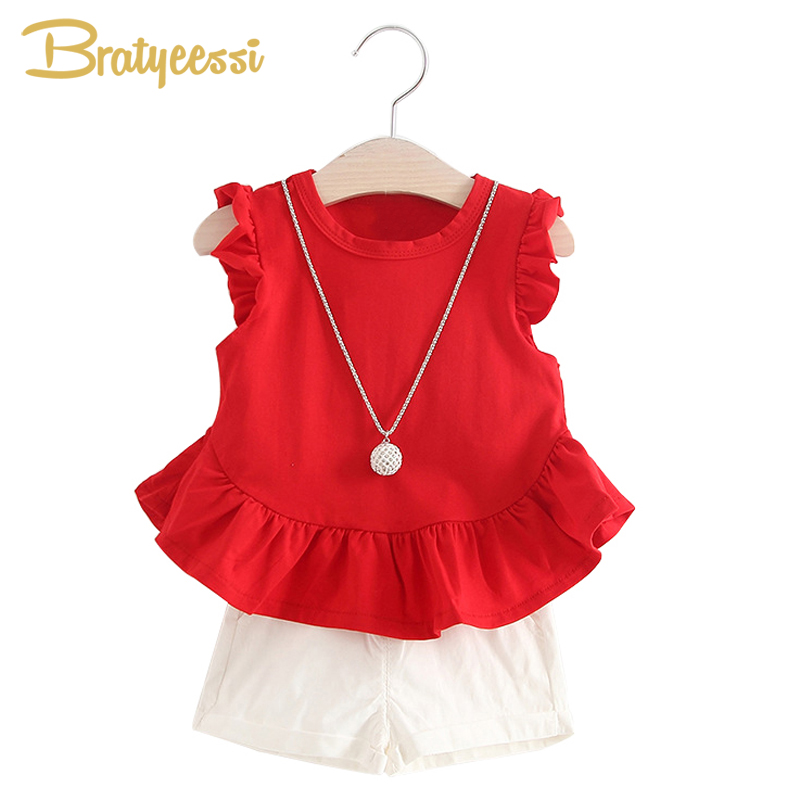 New Fashion Baby Girl Summer Clothes Set with Necklace Ruffles Princess Pullover Tops + Shorts Kids Clothes 2 PCS