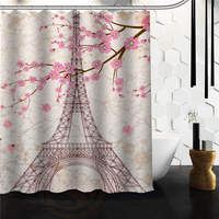 Hot Sale Custom Paris Eiffel Tower Bathroom Shower Curtain 60 X 72 48 X 72
