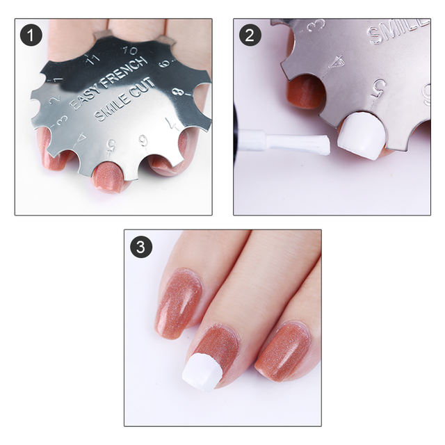 Easy French Nail Art Tips  Line Edge Cutter Stencil Trimmer 11 Sizes Nail Art Manicure Nail Art Styling Tool Design