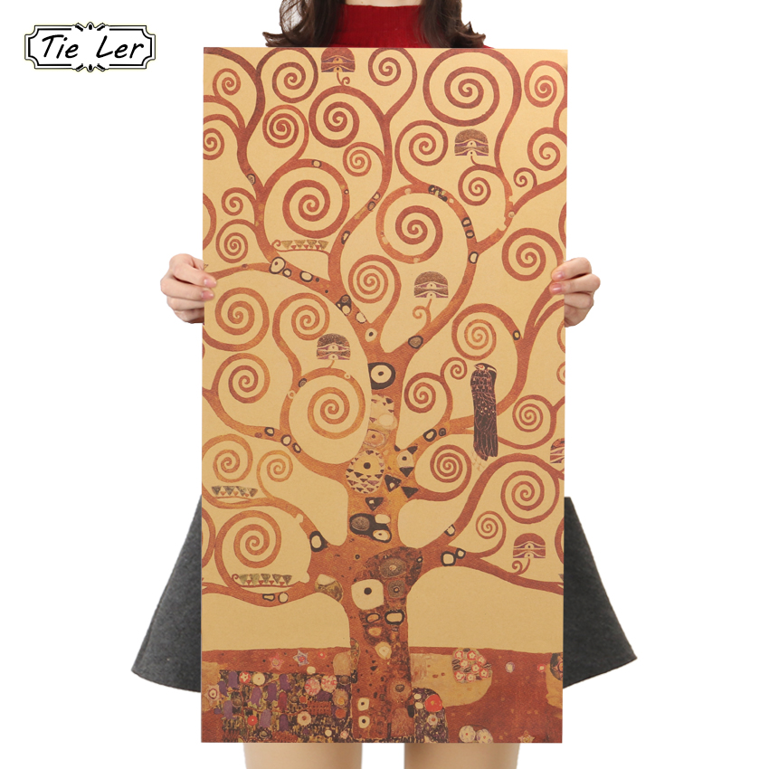 TIE LER The Tree of Life Classic Kraft Paper Art Print Painting Poster Wall Picture for Living Room Home Decor 70X37cm