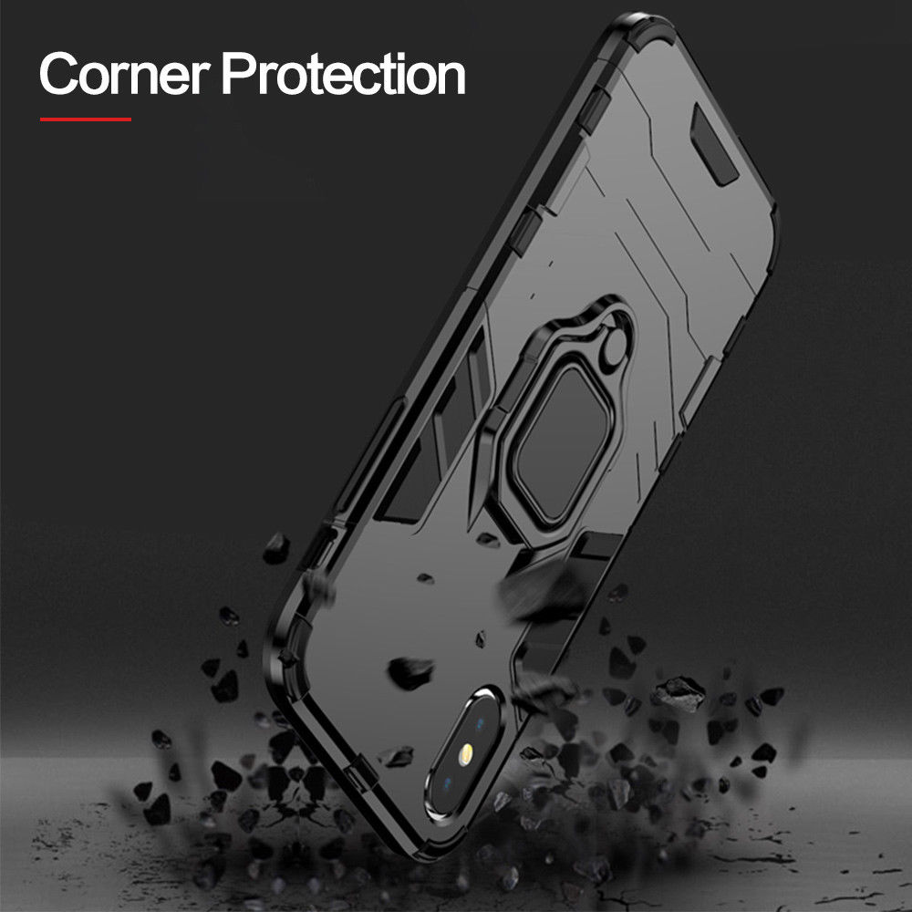 4 In 1 Aluminum Bumper Case For iPhone With Magnetic Finger Phone Standing Case 4