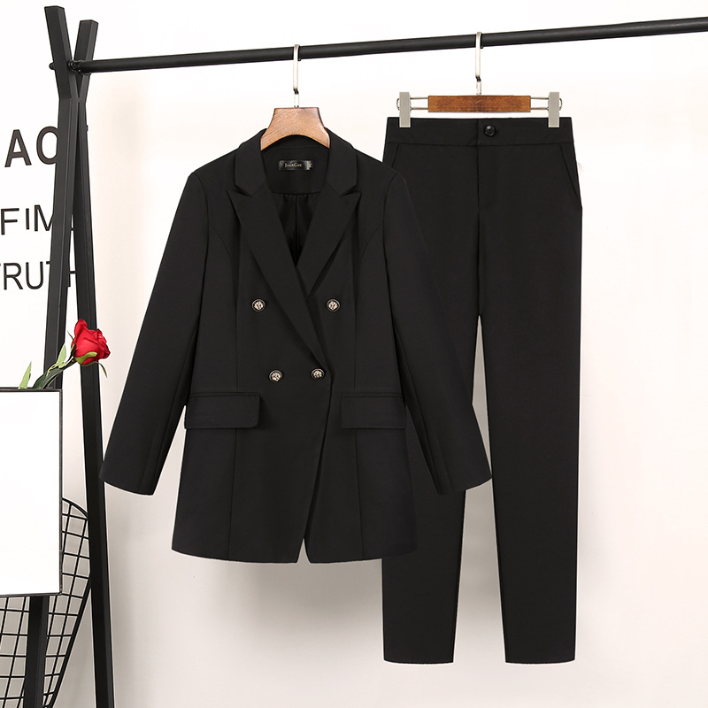 Work Fashion Pant Suits 2 Piece Set For Women Double Breasted  Blazer Jacket & Trouser Office Lady Suit Feminino Plus Size 5XL