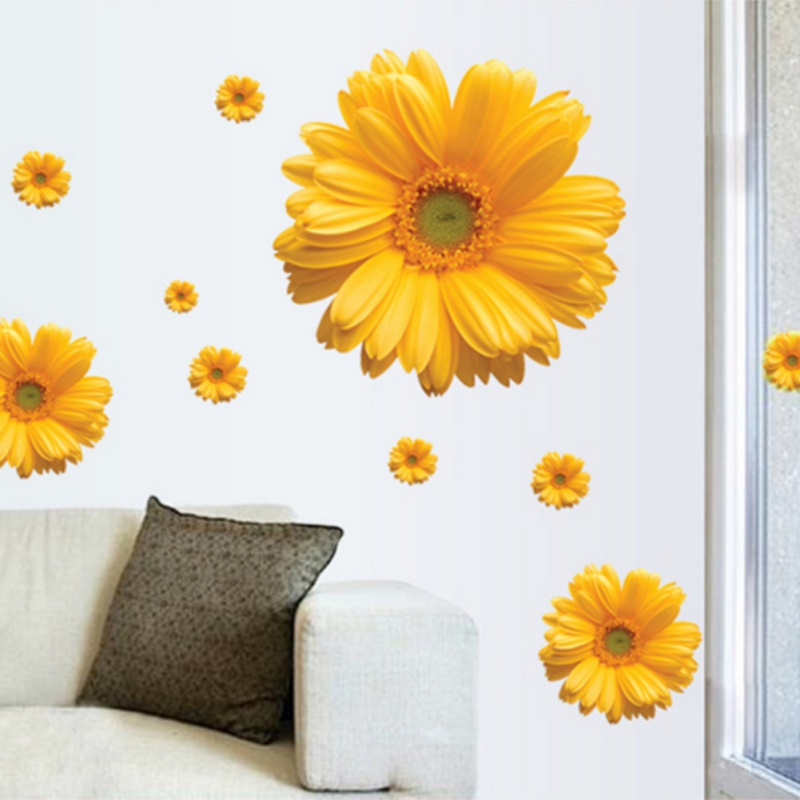 1Set Yellow Flowers Decorative Combination DIY Wall Sticker Decor Chrysanthemum Daisy Home Bedroom Wall Decal