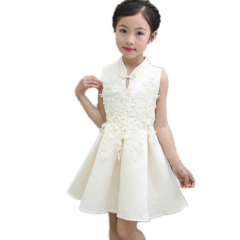Brand Baby Girl Dress Sleeveless Children Clothing Vestidos Qipao Chinese Style Princess Summer Dress Costume Party Kids Clothes dress coat traditional chinese style qipao full sleeve cheongsam costume party dress quilted princess dress cotton kids clothing