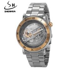 SHENHUA Men Watches Hollow Transparent Tourbillon Mechanical Watches Men Skeleton Automatic Self-Wind Watch Relogio Masculino