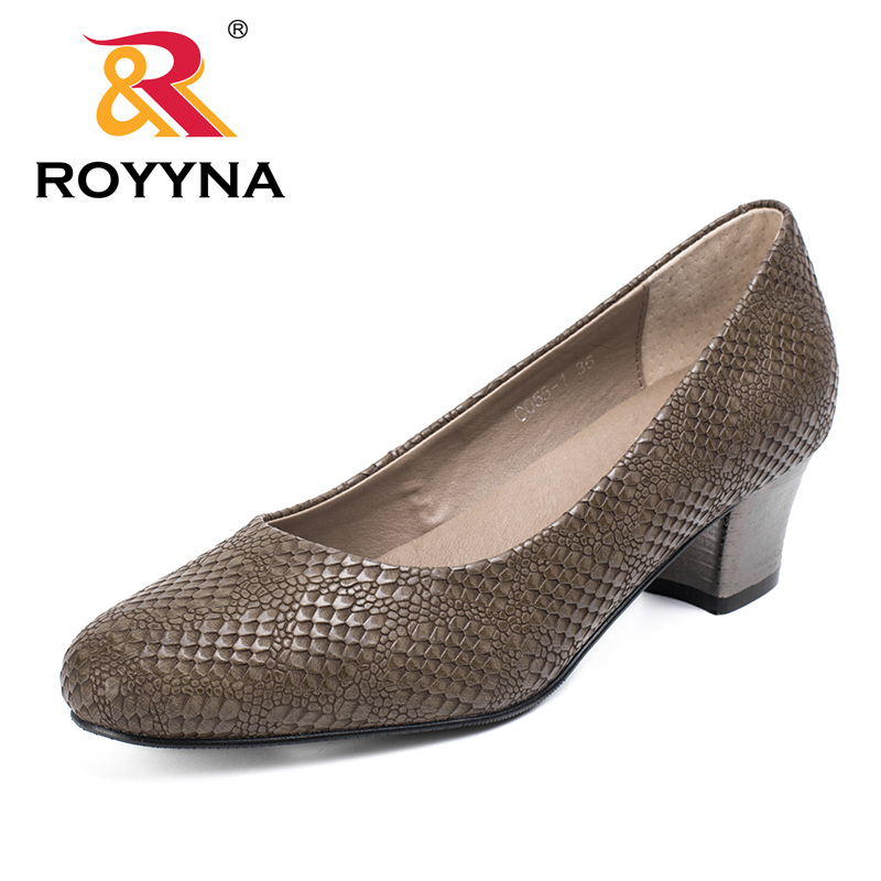 ROYYNA 2017 Popular Style Women Pumps Square Heels Ladies Shoes Serpentine Upper Material Women Shoes Shallow Women Casual Shoeswomen pumpswomen shoesshoes woman shoes women -