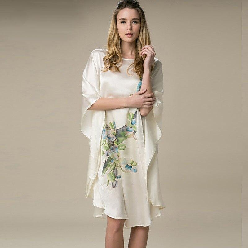 100% Silk Satin Dress Natural Mulberry Silk Women Dresses Plus Size Home Dress Handmade Painting Dress Cream White Flower