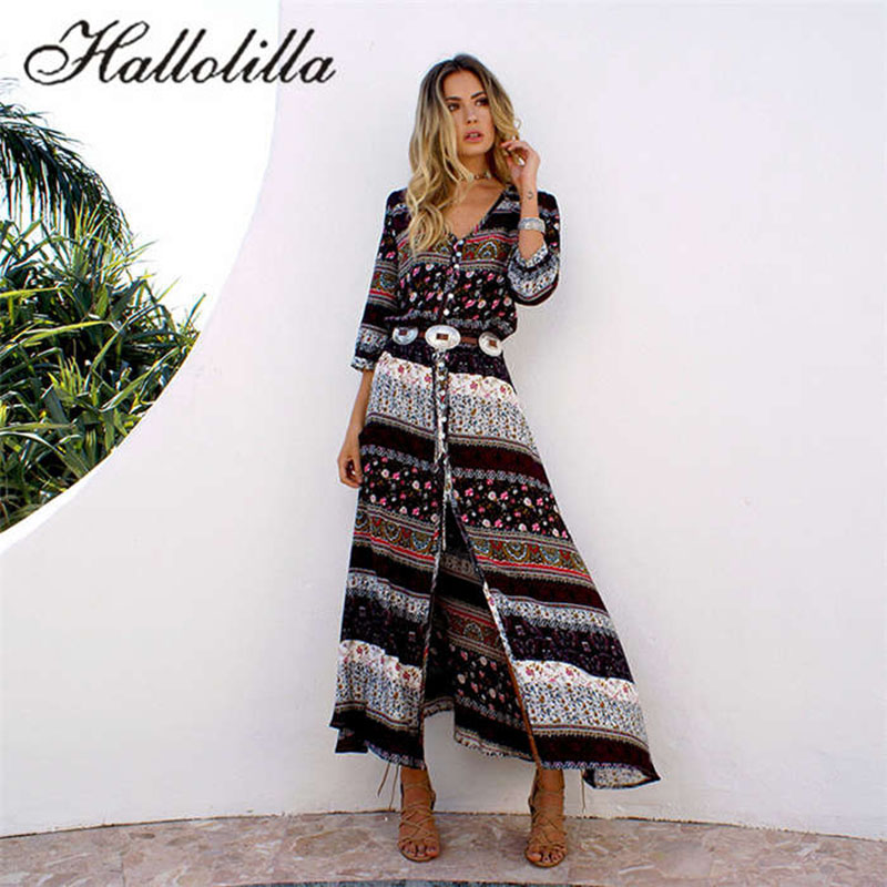Summer Dress Sexy Print Long Women Dress Elegant Maxi Vintage Fashion Beach Robe Bohemian Vestidos Casual Clothes Hot Dress Платье
