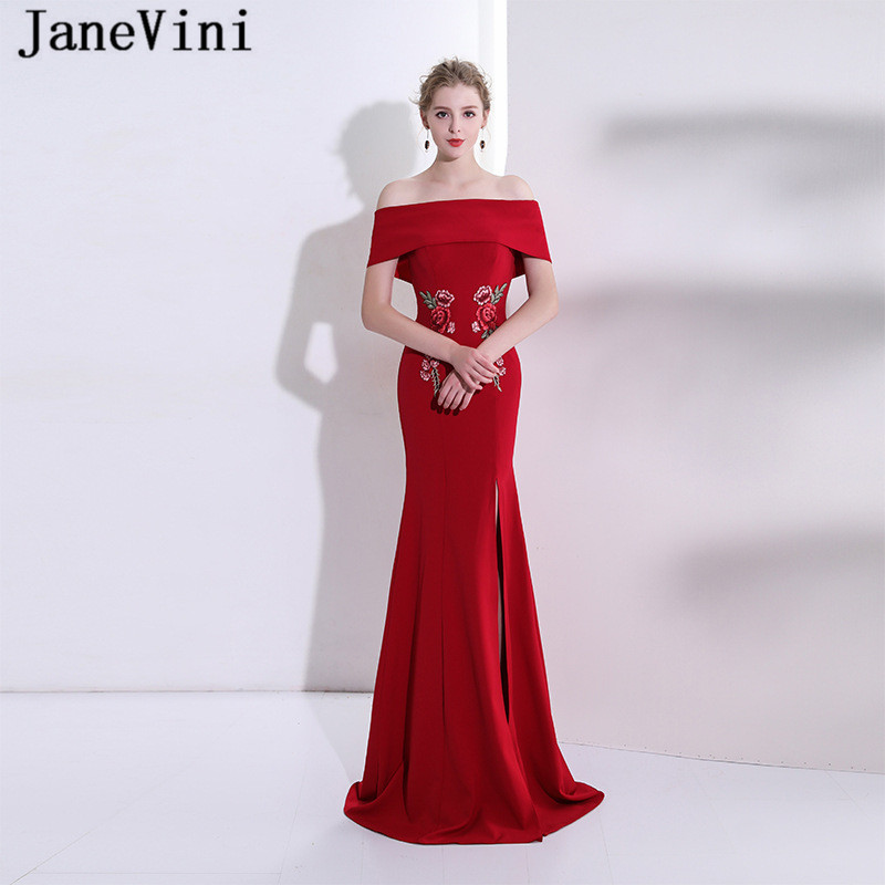 JaneVini Mermaid Long Burgundy   Bridesmaid     Dresses   Satin Boat Neck Exquisite Embroidery High Split Floor Length Prom Party Gowns