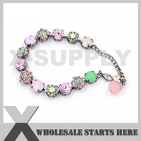 10mm Rhinestone Crystal Tennis Bracelets Green Pink And White Crystals In Aged Silver Metal Chains