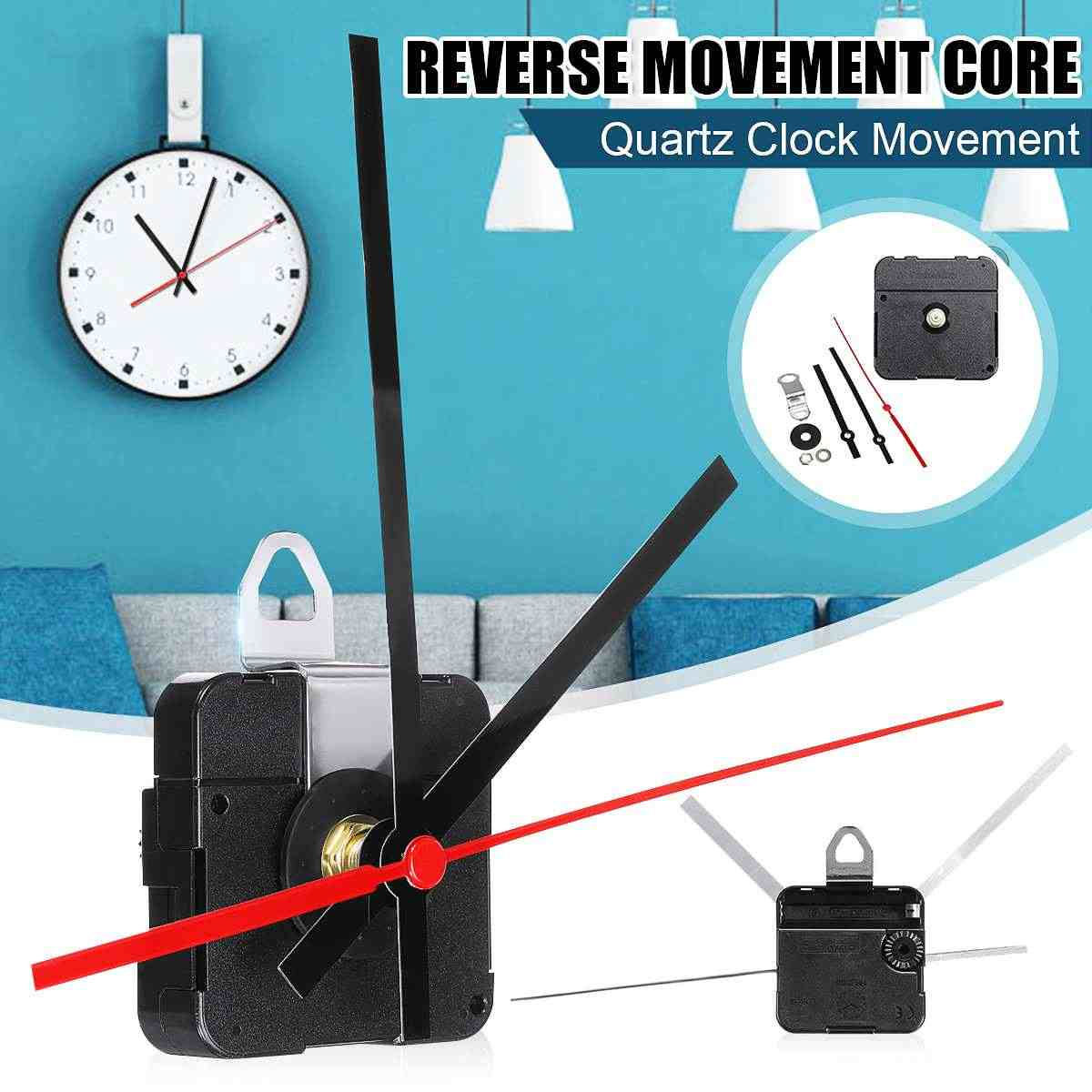 15.5cm  Reverse Shaft DIY Black Hands Quartz Movement Silent Mechanism Wall Clock Repair  Parts