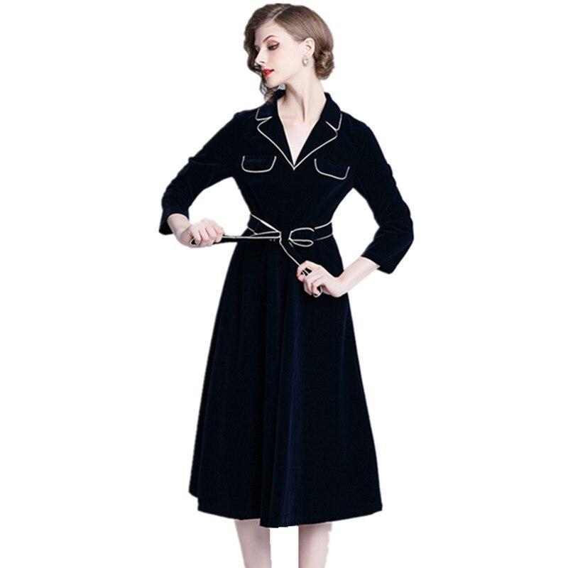 Automne hiver grande robe Swing femmes velours Patchwork manches longues col cranté robe décontracté manches longues ceintures robe Vestidos