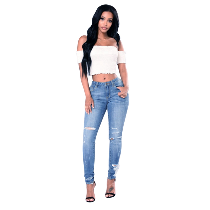Hipster Jeans Women Ripped Trousers Pants Pencil-Feet Light-Blue Slim-Fit Casual Denim thumbnail