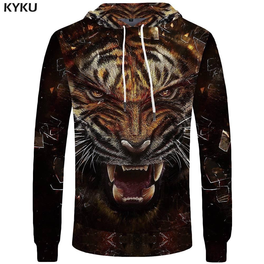 KYKU Brand Tiger Hoodies Men Glass Sweatshirts Animal Sweatshirt Pocket 3d Hoodies Big Size Hoddie Hooded 2018 Fashion