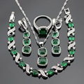 Christmas Gift Women Silver Color Jewelry Sets Green Created Emerald White CZ Necklace Pendant Bracelets Earrings Rings