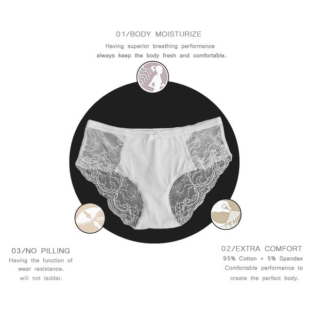 Lace Panties 95% Cotton + 5% Spandex Low-Rise Undies