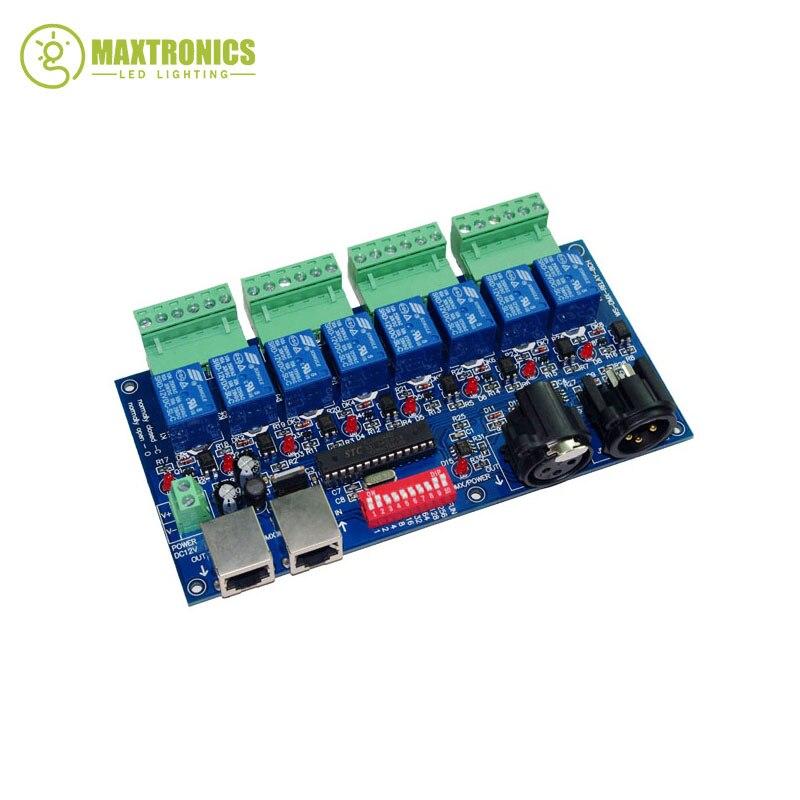 ФОТО 2016 best price 1 pcs 8CH Relay switch dmx512 Controller XLR+RJ45 dmx512 decoder led controller use LED free shipping