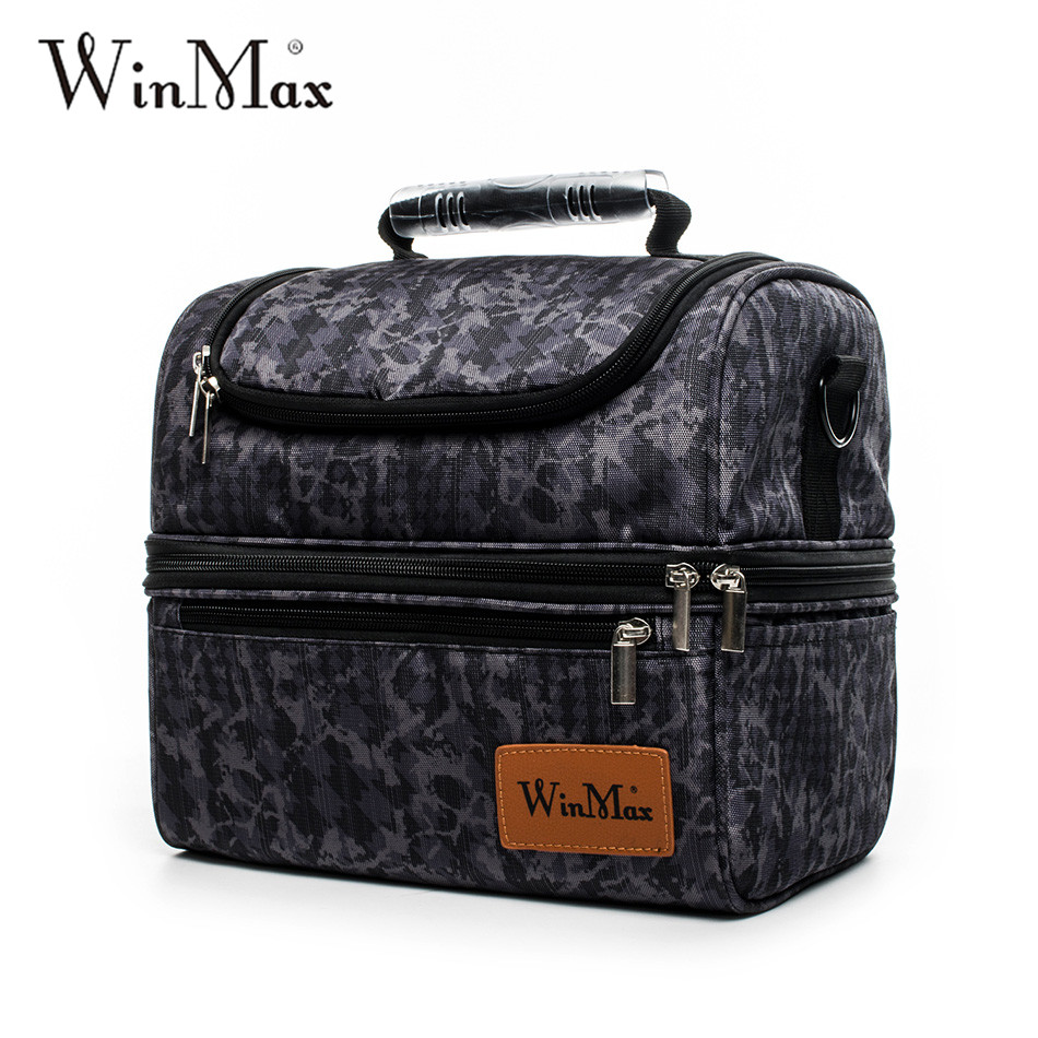 2018 Winmax Double Decker Lunch Bags Factory Outlet Large Capacity Thermal Insulated Cooler Lunchbox Picnic Hand Food Lunch Bag sannen 7l double decker cooler lunch bags insulated solid thermal lunchbox food picnic bag cooler tote handbags for men women