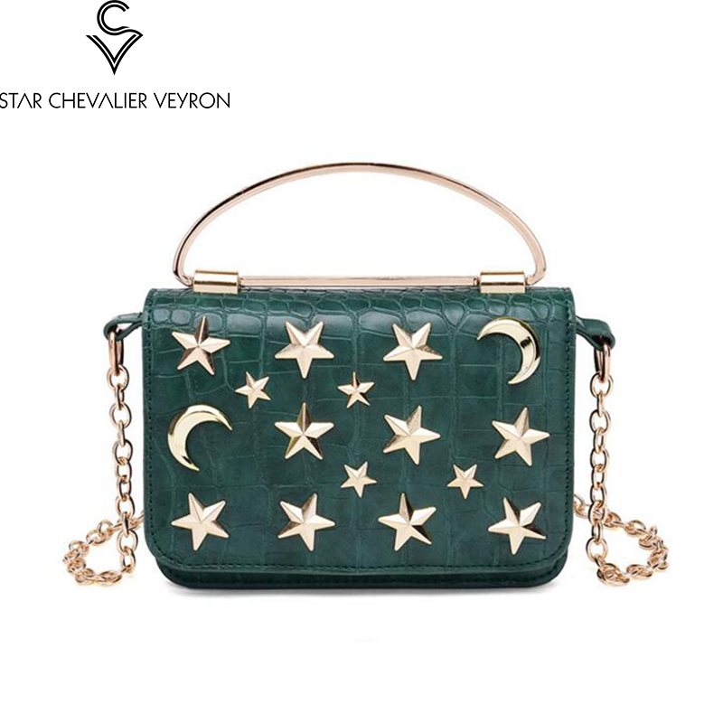 2017 4 colors The new fashion trend moon stars rivets decoration women handbags High quality pu leather women shoulder bags how high the moon