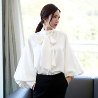 JOYINPARTY 2018 Pure White Bow Tie Blouse Chiffon Women Office Shirt Lantern Sleeve Blouses Blusas Femininas Formal Ladies Tops