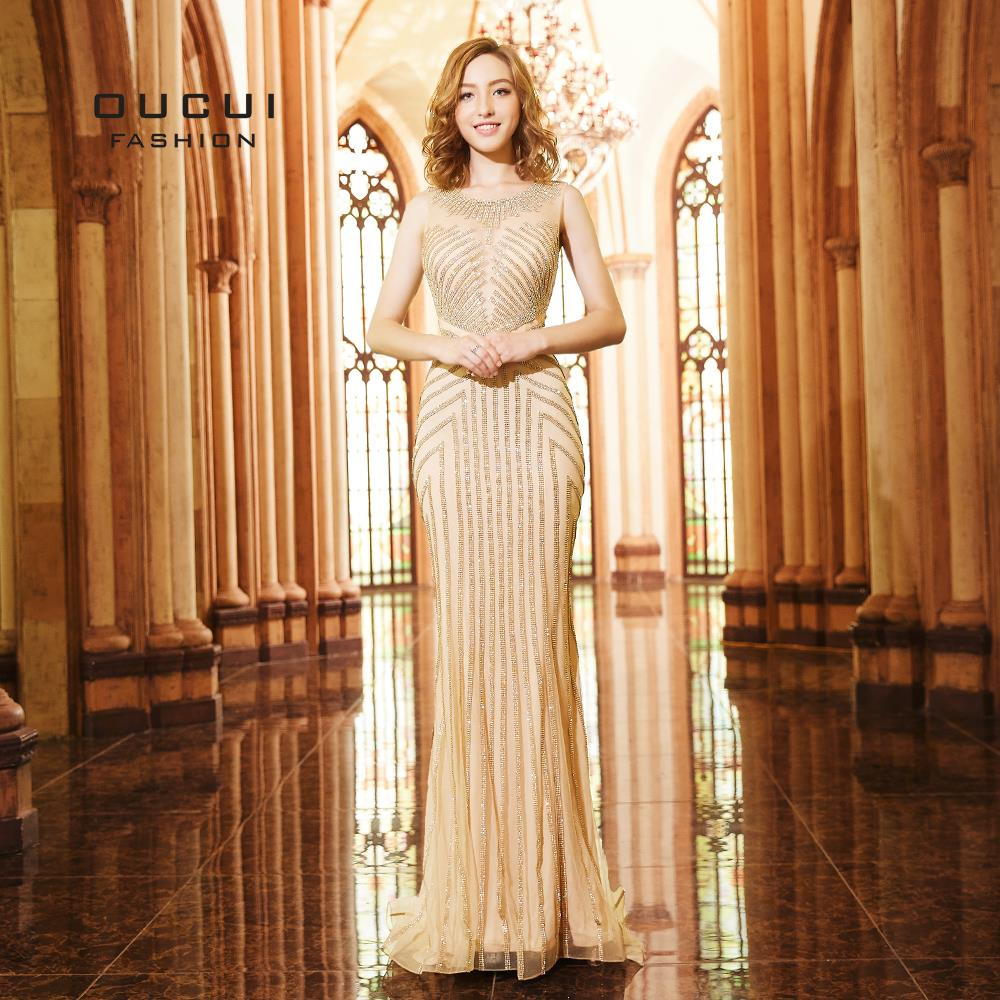 Oucui Gold Tulle Crystal vestido de festa longo Diamond Formal   Evening     Dress   Long Mermaid Sparkly Party   Dresses   Prom OL103273