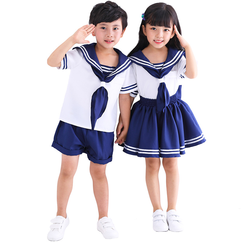 Kids Blue Cute Short Sleeves Boy Girl School Uniform -8999