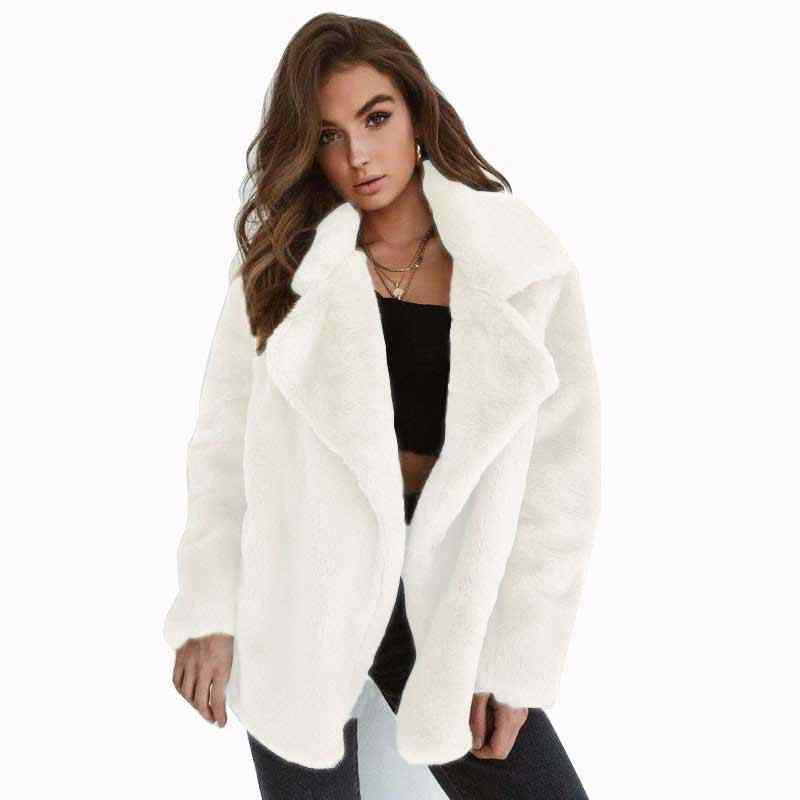 Женская зимняя парка с искусственным мехом, Размер 3XL, теплая куртка из флиса, мягкая плюшевая куртка с ворсом, Пушистый кардиган, верхняя одежда в категории «бомбер»
