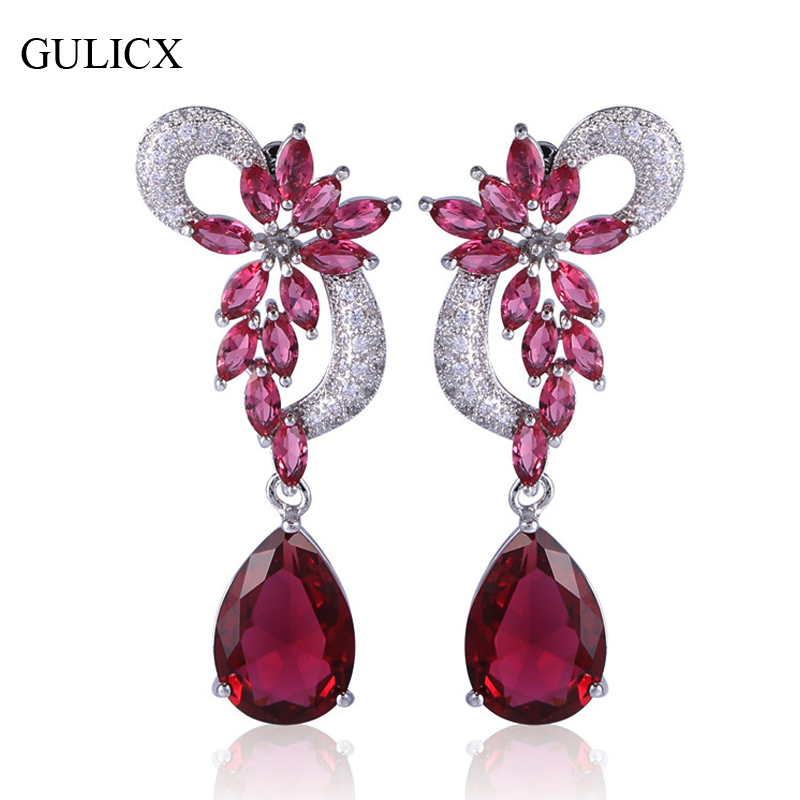 GULICX font b Luxury b font Flower Shaped White Gold color Dangle Drop Earring for Women