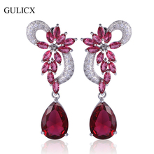 GULICX Luxury Flower Shaped White Gold-color Dangle Drop Earring for Women Teardrop Red Crystal CZ Long Wedding Jewelry AE04