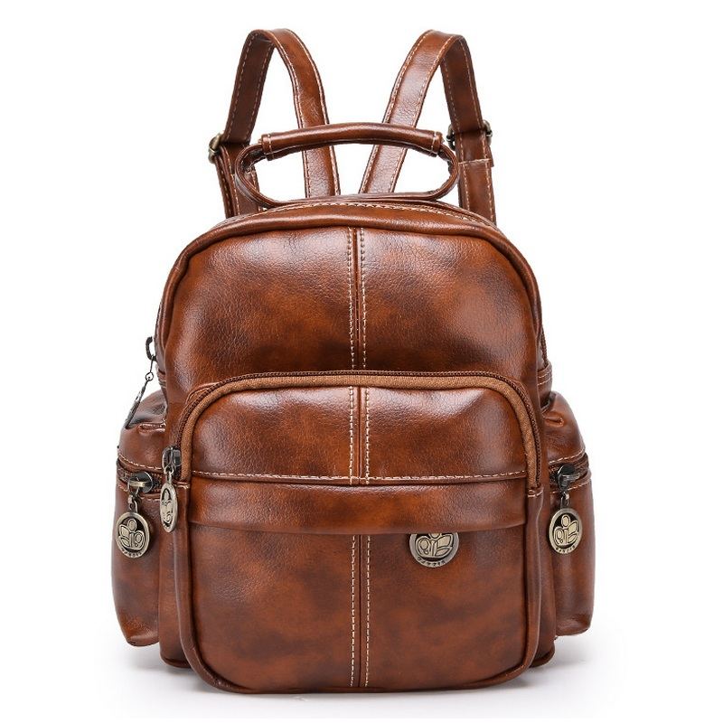 Retro Oil Wax PU Leather Women School Bags British Vintage Travel Backpack Teenager Girls Shoulder Bag Mochila Brown Bagpack