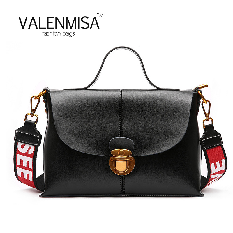 Korean Women Genuine Leather Messenger Bag High Quality Luxury Handbags Women Bags Designer Fashion Crossbody Bags 2 Wide Strap