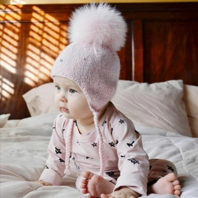 Children Winter Cap Knitted Baby Pearl Ball Hat Ear Protectors New baby boys and girls Newborn Infant Pom Pom beanie for girls