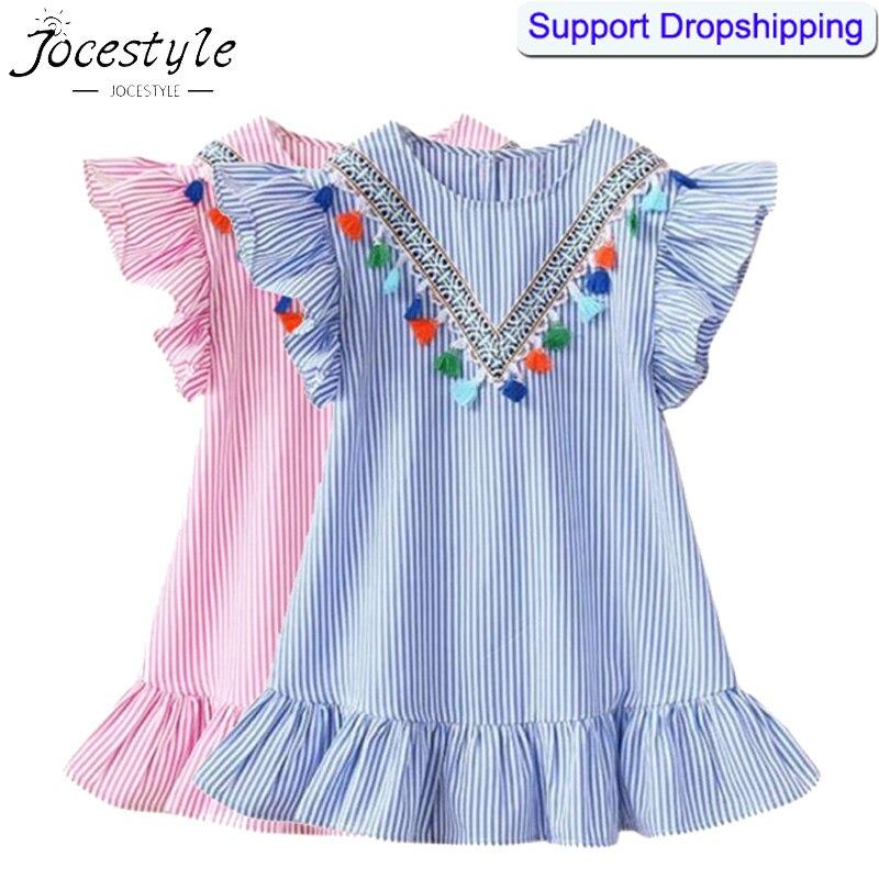 Dress Flying-Sleeve Tassel Girls Kids Stripe Summer Cute for Tops