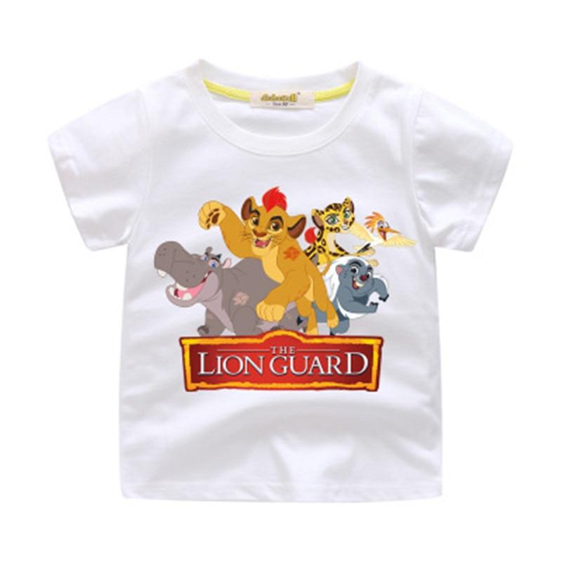 Summer Cartoon Baby Boys T-shirts The Lion King Guard Simba Print Girls T-shirts Cotton Short Sleeve Children Clothes Kids Tops