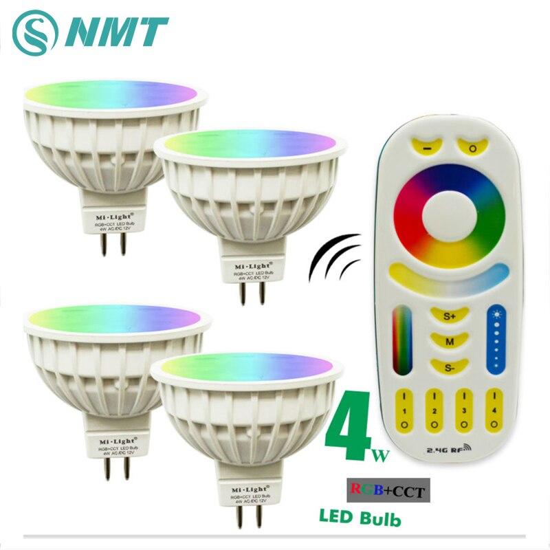 4W Mi Light LED Bulb Lamp Light Dimmable MR16 RGB CCT(2700-6500K) Spotlight Indoor Decoration + 2.4G RF LED Remote Control prorab 6401 нк